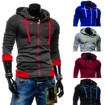 Fashion Contrast Color Long Sleeve Men's Hoodies