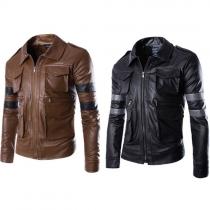 Fashion Long Sleeve POLO Collar Men's PU Leather Jacket