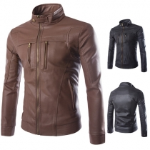 Fashion Solid Color Long Sleeve Stand Collar Slim Fit Men's PU Leather Jacket