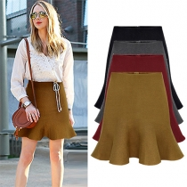 Elegant Solid Color High Waist Flouncing Hem Umbrella Skirt
