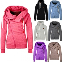 Fashion Solid Color Long Sleeve Oblique Zipper Hoodies