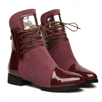 Fashion Flat Heel Round Toe Ankle Boots Booties