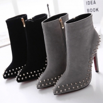 Punk Style Pointed Toe High-heeled Rivets Ankle Boots Booties