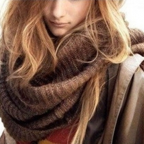 Fashion Solid Color Knitted Infinity Scarf
