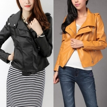 Fashion Solid Color Lapel Long Sleeve Slim Fit PU Leather Jacket