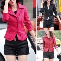 Fashion Solid Color Lapel Slim Fit PU Leather Jacket