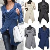 Fashion Solid Color Long Sleeve Irregular Knit Cardigan
