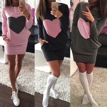 Fashion Heart Pattern Long Sleeve Round Neck Slim Fit Dress