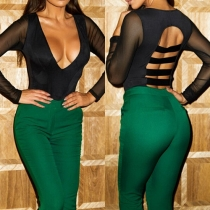 Sexy Backless Deep V-neck Long Sleeve Solid Color Rompers