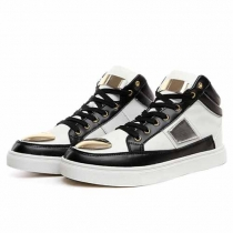 Fashion Contrast Color Lace-up Men's High-top Sneakers