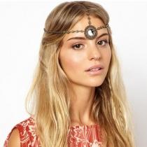 Retro Ethnic Style Rhinestone Tassel Headwear