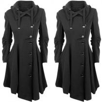 Elegant Solid Color Long Sleeve Single-breasted Irregular Hem Coat