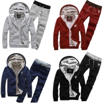 Fashion Solid Color Hooded Sweatshirt + Pants Men's Sports Suit