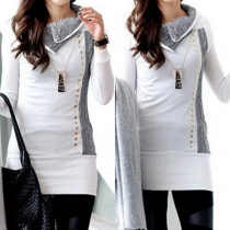 Fashion Contrast Color Long Sleeve Lapel Rivets Long Shirt