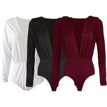 Sexy Deep V-neck Long Sleeve Solid Color Swimwear Rompers