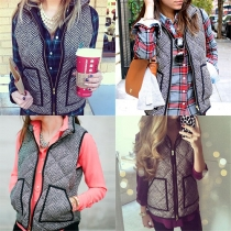 Fashion Stand Collar Wave-stripe Printed Vest