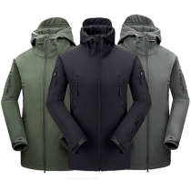 Fashion Solid Color Long Sleeve Hooded Waterproof Outdoor Jackets