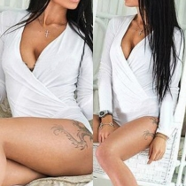 Sexy Deep V-neck Long Sleeve Slim Fit Solid Color Rompers