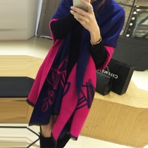 Fashion Contrast Color Printed Shawl Scarf
