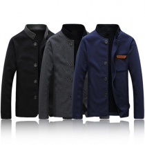 Fashion Solid Color Long Sleeve Stand Collar Men's Jacket