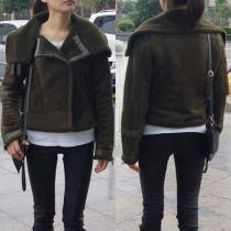 Retro Style Faux Cashmere Lapel Long Sleeve Faux Suede Coat