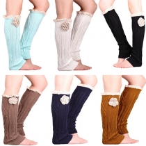 Fashion Solid Color Lace Spliced 3D Flower Knit Over The Knee Socks
