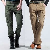 Fashion Solid Color Multi-pocket Men's Pants Overalls
