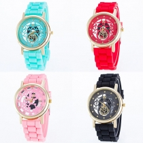 Fashion Silicone Watch Band Hollow Out Round Dial Quartz Watch
