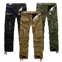 Navy Style Solid Color Multi-pocket Men's Casual Pants