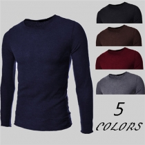 Fashion Solid Color Long Sleeve Round Neck Men's Knit Tops