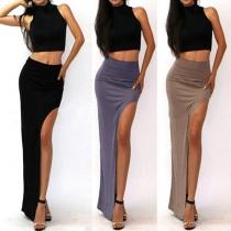 Sexy High Waist Slit Hem Solid Color Maxi Skirt