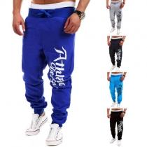 Fashion Letters Printed Elastic Waist Men's Sports Pants