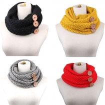 Fashion Solid Color Buttons Warm Knit Infinity Scarf