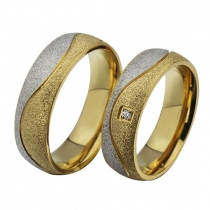 Fashion Rhinestone Titanium Steel Couple Rings