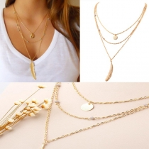 Fashion Gold/Silver-tone Feather Pendant Multilayer Tassel Necklace