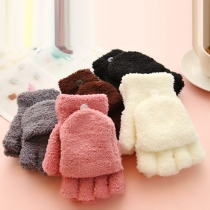 Cute Style Solid Color Multifunction Plush Half-finger Gloves