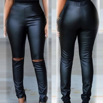 Distressed Style High Waist Slim Fit Ripped PU Leather Pencil Pants