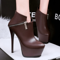 Fashion Round Toe Super High-heel Platform Ankle Boots Booties
