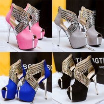Sexy Peep-toe Super High-heel Crossover Shoes Pumps