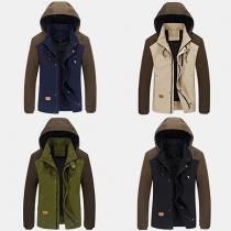 Fashion Contrast Color Long Sleeve Hooded Men's Warm Jacket