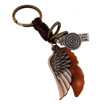 Punk Style Alloy Wing Pendant Braided Keychain