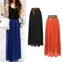 Bohemian Style High Waist Solid Color Chiffon Maxi Skirt