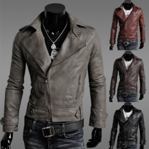 Fashion Solid Color Long Sleeve Men's PU Leather Jacket