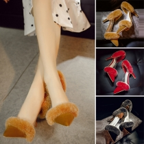 Fashion Pointed Toe Faux Fur Spliced High-heeled Shoes