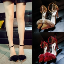 Sexy Pointed Toe Faux Fur Spliced High-heeled Shoes