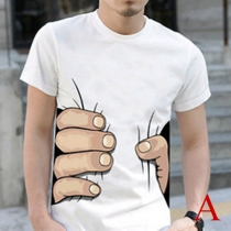 Creative Style 3D Printed Short Sleeve Round Neck Men's T-shirt