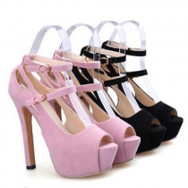 Sexy Crossover Ankle Strap Peep Toe Super High-heel Shoes