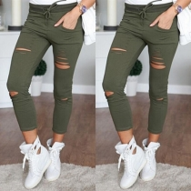 Fashion Solid Color High Waist Slim Fit Ripped Pants