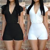 Sexy Hollow Out Deep V-neck Sleeveless Solid Color Rompers