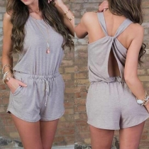 Sexy Backless Gathered Waist Solid Color Rompers